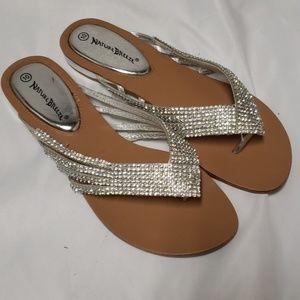 Nature breeze silver sparkle sandles!